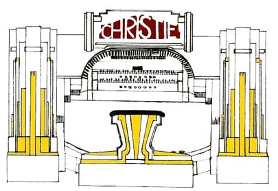 line drawing of the Christie Organ